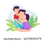 vector illustration father with ... | Shutterstock .eps vector #1674949279