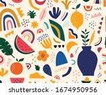 spring seamless pattern. cute... | Shutterstock .eps vector #1674950956