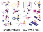 men and women doing fitness... | Shutterstock .eps vector #1674951703