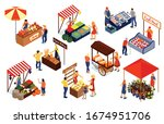vendors selling meat fish... | Shutterstock .eps vector #1674951706