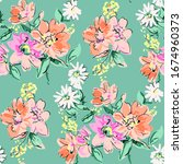 summer flowers bloom colorful... | Shutterstock . vector #1674960373