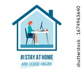 i stay at home awareness social ... | Shutterstock .eps vector #1674963640
