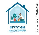 i stay at home awareness social ... | Shutterstock .eps vector #1674963646