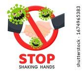 no handshake. prohibition sign... | Shutterstock .eps vector #1674965383