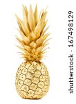 Pineapple In Gold Isolated On...
