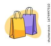 shopping bag cartoon... | Shutterstock .eps vector #1674997510
