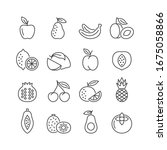 fruit vector line icon set.... | Shutterstock .eps vector #1675058866