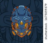 Cyber Robot Skull Illustration...