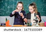 Small photo of Private school. School project investigation. School experiment. Science concept. Gymnasium students with in depth study of natural sciences. Girls school uniform busy with proving their hypothesis.