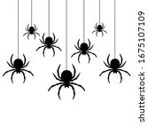 Black Spiders Hanging On A Web...