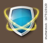 3d Color Shield Icon With Gold...