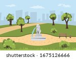 park with fountain in cartoon... | Shutterstock .eps vector #1675126666