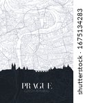 skyline and city map of prague  ... | Shutterstock .eps vector #1675134283