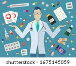 pharmacy and medicine  doctor...   Shutterstock .eps vector #1675145059