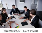 group of happy young  business... | Shutterstock . vector #167514980