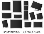 photo card frames. rectangular... | Shutterstock . vector #1675167106