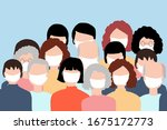people crowded icon wearing... | Shutterstock . vector #1675172773