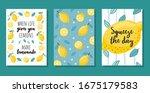 Summer Cards Set With Lemons...