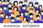 masked people  crowds  virus... | Shutterstock .eps vector #1675180033