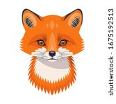 funny red fox face or head... | Shutterstock .eps vector #1675192513