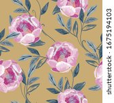 delicate pink roses and peonies ... | Shutterstock .eps vector #1675194103