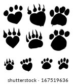 animal footprints silhouettes  | Shutterstock .eps vector #167519636