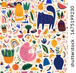 cute spring seamless pattern...   Shutterstock .eps vector #1675199230