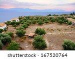 Rural Greek Landscape At Sunse...