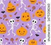 cute spooky orange pumpkin ... | Shutterstock .eps vector #1675208260
