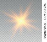 realistic sun rays. yellow sun... | Shutterstock .eps vector #1675211926