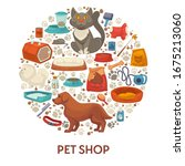 pet shop banner with icons set... | Shutterstock .eps vector #1675213060