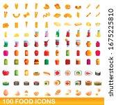 100 food icons set. cartoon... | Shutterstock .eps vector #1675225810