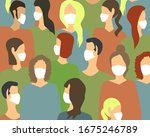 masked people spreading the... | Shutterstock .eps vector #1675246789