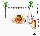 happy pongal  harvest festival... | Shutterstock .eps vector #167525318
