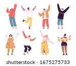 set of people who wave their... | Shutterstock .eps vector #1675275733