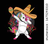 unicorn mexican hat cinco de... | Shutterstock .eps vector #1675293310