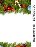 christmas background with balls ... | Shutterstock . vector #167531720
