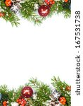 christmas background with balls ... | Shutterstock . vector #167531738
