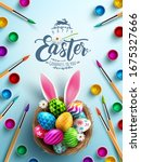 poster of easter in painting... | Shutterstock .eps vector #1675327666