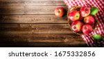 Ripe Red Apples In Wooden Box...