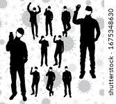 coronavirus vector concept. men ... | Shutterstock .eps vector #1675348630