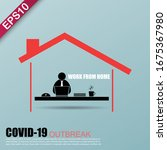 work from home in covid 19... | Shutterstock .eps vector #1675367980