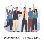 boss and team congratulating... | Shutterstock .eps vector #1675371343
