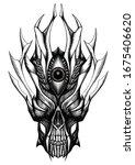 skull of demon or devil  dark... | Shutterstock . vector #1675406620