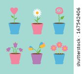 set of six flowers in pots.... | Shutterstock . vector #167542406