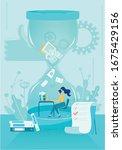 cartoon woman work on computer...   Shutterstock .eps vector #1675429156