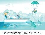 cartoon office employee on ship ... | Shutterstock .eps vector #1675429750