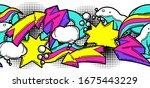seamless pattern with cartoon... | Shutterstock .eps vector #1675443229