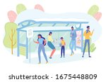people stand on bus stop in...   Shutterstock .eps vector #1675448809