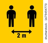 social distancing 2 meters icon.... | Shutterstock .eps vector #1675454773